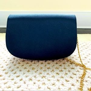 NWOT Brooks Brother Leather Blue Purse Gold Chain